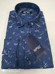 Blue Casual Wear Somet Mens 100% Cotton Satin Print Slim Fit Full Sleeves  Shirts, Adult, Size: Medium