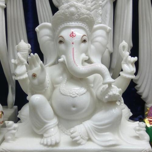 White Marble Ganesh Statue Marble Ganpati Statue Marble Mahaveer