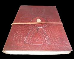 Vintage Embossed Leather Journal with Stone