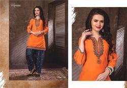 Stitched Party Wear Top & Patiala With Work