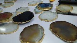 Natural Shape Printed Agate Coaster