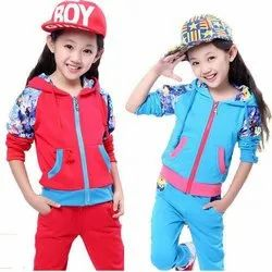 Cotton Full Sleeves Kids Tracksuit Set