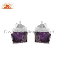 Cushion Shaped 925 Fine Silver Raw Amethyst Gemstone Stud Earrings