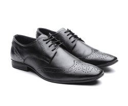 Carlton Overseas Men Black Leather Formal Brogues Shoes, Size: 6-11