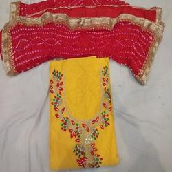 Yellow Jaipur Bhandhej Dress Material