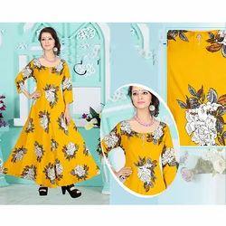 Yellow Printed Ladies Kurti