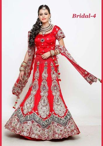 Embroidered Wedding Dress.Wedding Red Bridal Lehenga