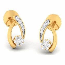 Fancy Designed Diamond Gold Earring
