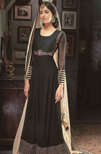 91ee49526a Black Georgette And Cotton Abaya Style Churidar Kameez - Naman ...