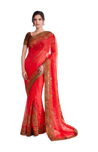 3307068f91290f Soch Red Embroidered Chiffon Saree With Blouse - Nikita Chemic ...