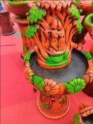 Terracotta radhakrishnan fountain, for decoration fountains, 3.5 feet