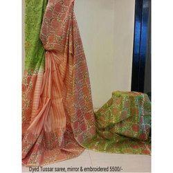 Silk Printed Designer Tussar Saree, 5.5 M