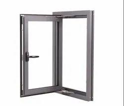 Modern Grey Hinged Aluminium Window for Home