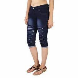 Ladies Ripped Jeans Capri