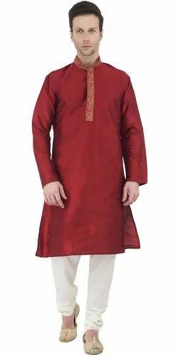 4dba112964 Long Sleeve Button Down Shirt Embroidered Mens Kurta Pajama Set Red Indian  Wedding Party Dress