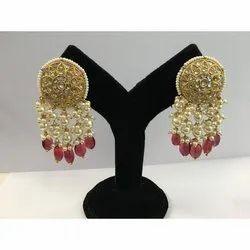 Natural Uncut Diamond Polki Jadau Earrings