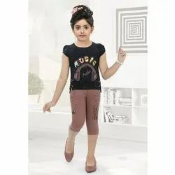 Cotton Casual Wear Kids Girls Printed Top and Capri Set, Age: 1-12 Year