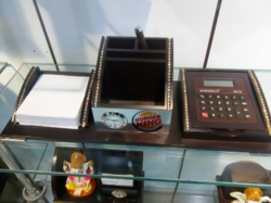 Promotional Wood Calculator Pen Stand, For Office, Calculator Model Number: Xe 302