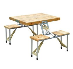 Wooden Picnic Folding Table Without Umbrella