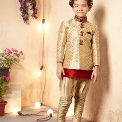 Wedding Wear Golden And Red Kids Party Wear Sherwani