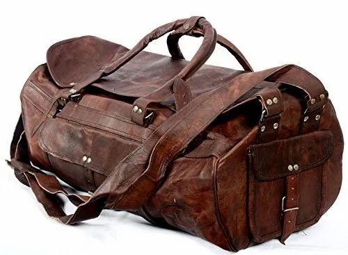 9df52b60337b Vintage Brown Leather Duffel Bag