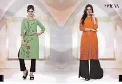Designer Orange/Green Printed Georgette Kurti