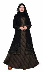 Women's Lycra Embossed Abaya Burka with Hijab Scarf