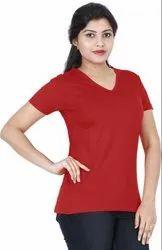 Red Plain Cotton T Shirt