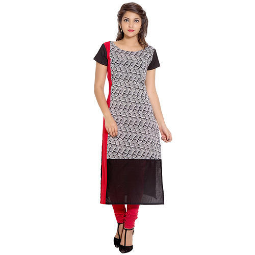 Cotton Black and Red Printed Kurti, Size: S & XXL