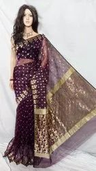 Eresom Leaf Jamdani Pure Resham Saree Purple Red White