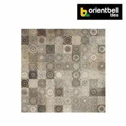 Orientbell DGVT CHESTER FLORA BROWN Highlighter Floor Tiles