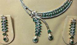 Party Wear Diamond with Emerald Necklace Set