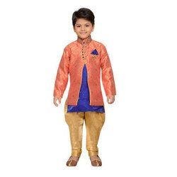 Orange And Gold Raw Silk Indo Western Sherwani Set For Kids