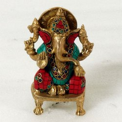 Capstona Sw Brass Ganesh On Chowki Idols