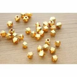 Nanplanetsilver Gold Plated Sterling Silver Faceted Nuggets Beads