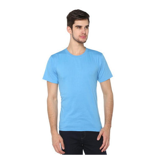 3976f0fa29f Men  s Sky Blue Round Neck Casual Solid T-Shirt