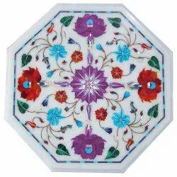 White Cornelian Gemstone Marble Inlay Coffee Table Top
