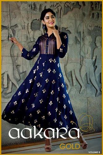 08c5ccaaad Designer Kurtis - Aakara Gold Vol 8 Premium Rayon Kurtis By Aakara ...
