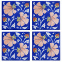 Blue And Yellow India Handmade Blue Pottery Tiles, 4 X 4 Inches