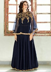 Mesmerizing Midnight Blue Suit with Capelet