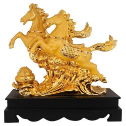 Golden Double Horse Statue