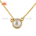 Yellow Gold Plated Silver Natural Pearl Gemstone Chain Necklace