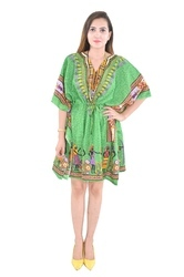 Cotton Wear Green Poncho Fashionable Kaftan
