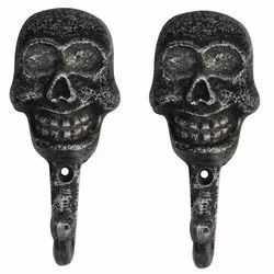 Iron Black Skull Wall Hooks, Finish Type: Powder Coated, Number of Hooks: Single