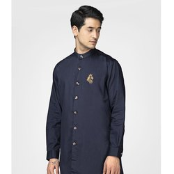Green Hill Men's Designer Navy Blue Kurta Shirt