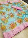 Mysore Silk Weaving Zari Border Ikkat Print Saree