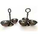 2, 3, & 4 Bowl Smokey Finished Copper Hammered Pickle Stand