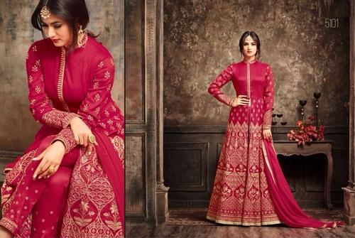 fa30862cbb Red Krivi Designer Silk Designer Long Suit Online, Rs 4362 /piece ...