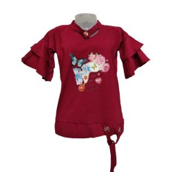 Frill Style Sleeve Red Colour Tops for Kids