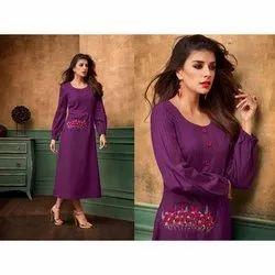 Rayon Casual Wear Ladies Indo Western Purple Dresses